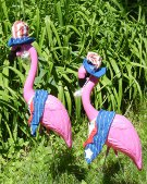 2 HUGE PINK FLAMINGOS with 8 Holiday Clothing Outfits - Pack 1