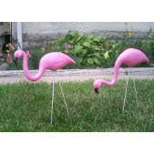 Mini Pink Flamingos Lawn/Retro Yard Art Ornament - Set of 2