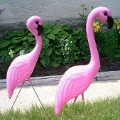 Traditional HUGE PINK FLAMINGOS Yard/Lawn Ornaments - Set of 2