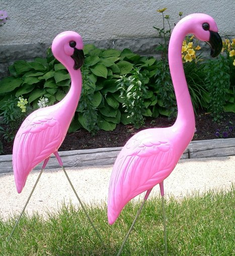 Traditional Huge Pink Flamingos Yard Lawn Ornaments Set