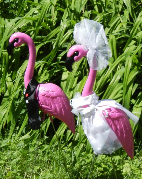 2 HUGE PINK FLAMINGOS with Bride/Groom Clothing Outfits