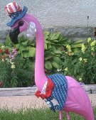HUGE PINK FLAMINGOS Yard Ornament w/ 9 clothing outfits - Set of 2