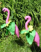 2 HUGE PINK FLAMINGOS with 8 Seasonal Clothing Outfits - Pack 1